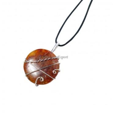 Peach Aventurine Circle Pendant