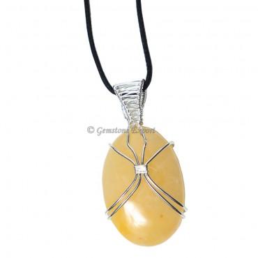 Yellow Aventurine Oval Wire Warp Pendant