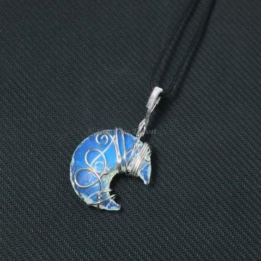 Opalite Moon Wire Wrap Pendant
