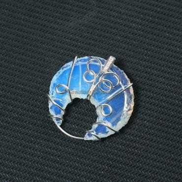 Opalite Moon Wire Warp Pendant