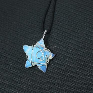 Opalite Star Wire Wrap Pendant