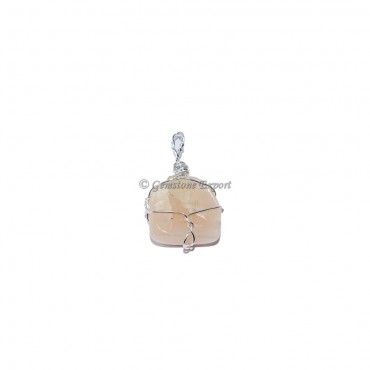 Peach Aventurine Wire Wraped Pendant