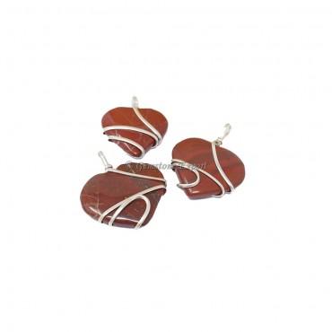 Red Jasper Heart Wire Warped Pendats
