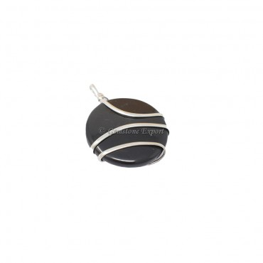 Black Tourmaline Circle Wire Warp Pendant