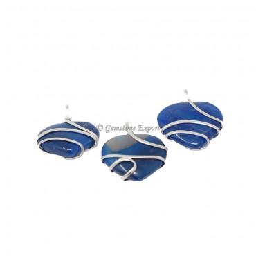 Blue Onyx Heart Wire Warp Pendant