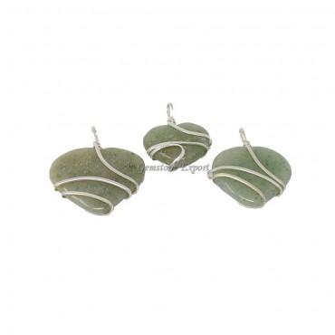 Green Aventurine Heart Wire Wrap Pendant