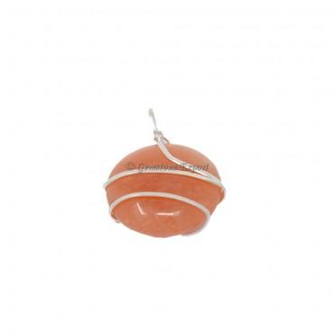 Peach Aventurine Oval Wire Warp Pendat