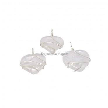 Crystal Heart Wire Warp Pendant