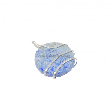 Lapis Lazuli Circle Wire Warp Pendant