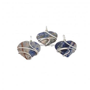 Sodalite Heart Wire Wrap Pendant