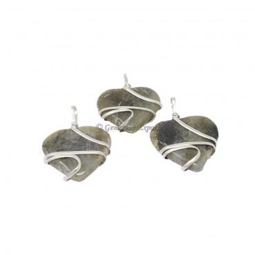 Labradorite Heart Wire Wrap Pendant
