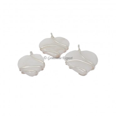 White Agate Heart Wire Warp Pendant