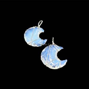 Opalite Moon Silver Wire Wraped Pendant