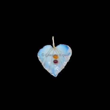 Opalite Heart Silver Wire Wrap Pendant