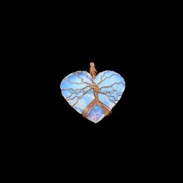Opalite Heart Bronze Wire Wrap Pendant