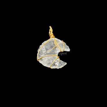 Crystal Moon Golden Wire Wrap Pendant