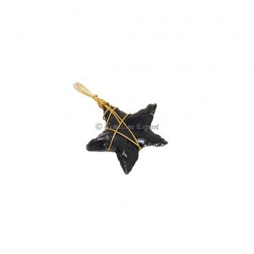 Black Obsidian Star Golden Wire Wrap Pendant