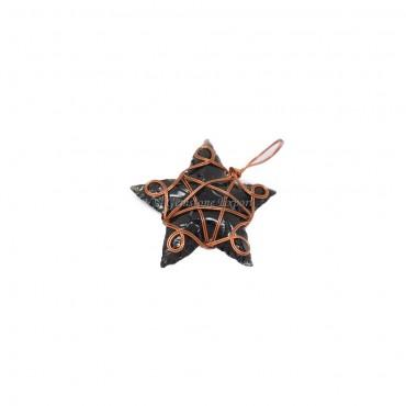 Black Obsidian Star Bronze Wire Wrap Pendant