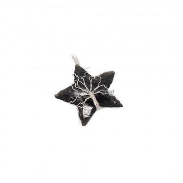 Black Obsidian Star Silver Tree Wire Wrap Pendant