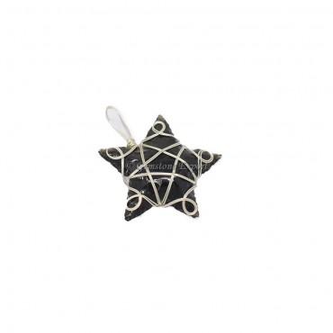 Black Obsidian Star Silver Wire Wrap Pendant