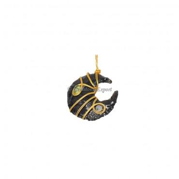 Black Obsidian Moon Golden Wire Wrap Pendant