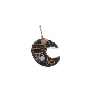 Black Obsidian Moon Bronze Wire Wrap Pendant
