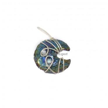 Rainbow Titanium Moon Silver Wire Wrap Pendant