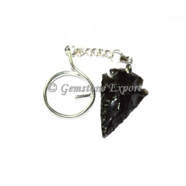 Black Obsidian Arrowheads Keyring
