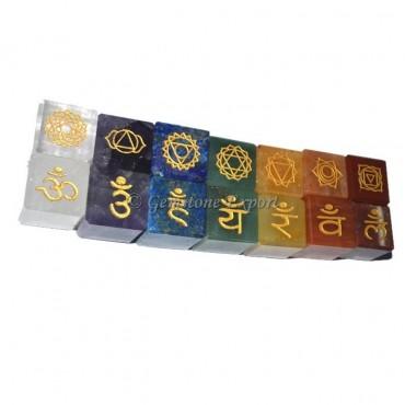 Seven Chakra Both Side Engraved Cube Set