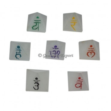 Seven Chakra White Agate Sanskrit Pyramids Set