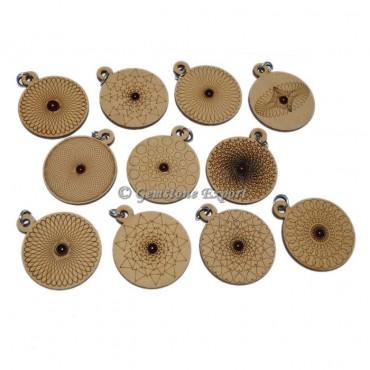 Assorted Engraved Wooden Pendants