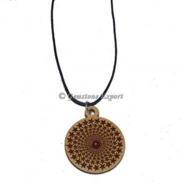 Engraved Star Symbol Wooden Pendants