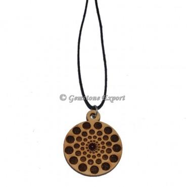 Engraved Round Design On Wooden Pendants