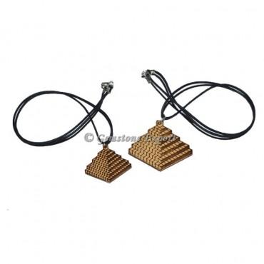 Engraved 3D Square Symbol Wooden Pendants