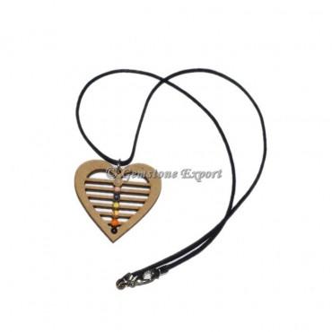 Wooden Heart Shape Chakra Pendants